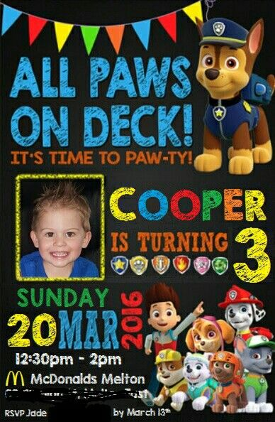 Paw Patrol Birthday Invitation
