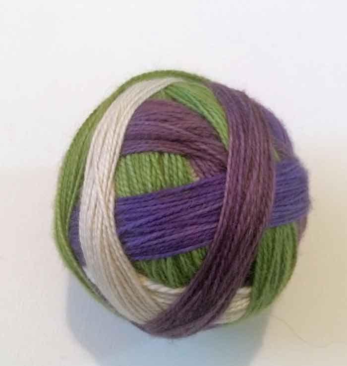 Luxury Sock Hand-dyed Self-striping 100g 4 ply Fingering Wool Yarn Field of Violets Purple Green by HeatherMaid on Etsy