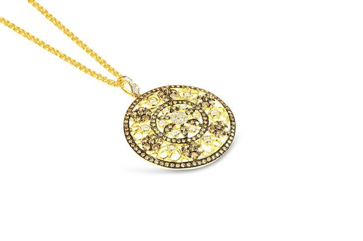 18 ct yellow gold white, champagne & cognac diamond pendant