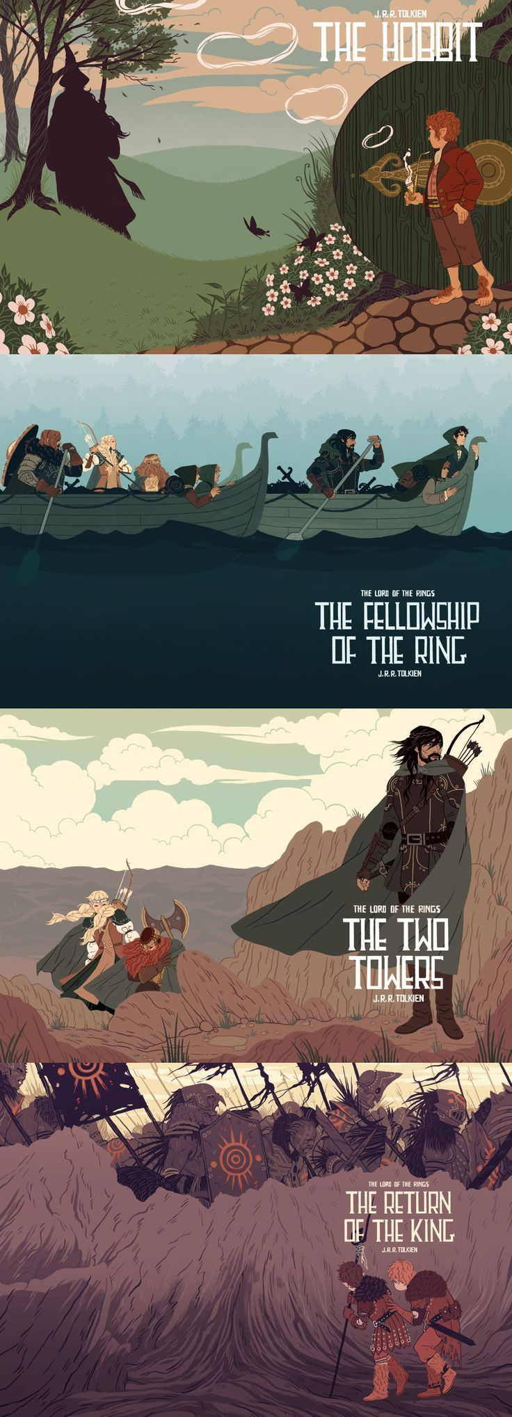 The Hobbit and The Lord of the Rings by Sara Kipin #lordoftherings #hobbit #fanart (Geek Stuff Nerd)
