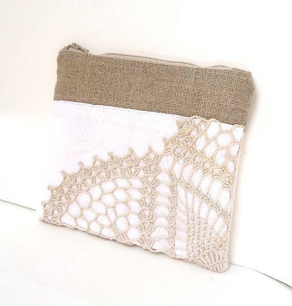 White Linen Burlap Vintage Doily Clutch - Vintage Wedding - Bridesmaid Gifts