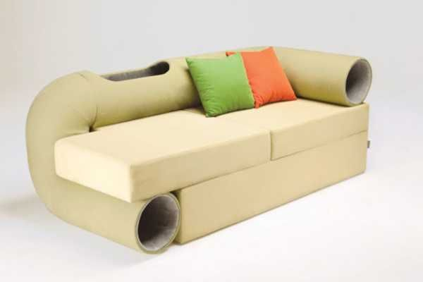 Modern Sofa Design with Indoor Dog House Keeps Pets and Their Owners Close