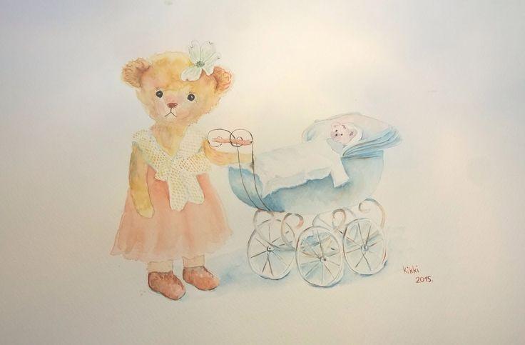 Lilla mackó szépen felöltöztette, babakocsiba tette kisfiát, majd egy szép somvirágot tűzött frizurájába s elindultak sétálni...