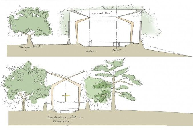 Relationship between the chapel and the trees on the site