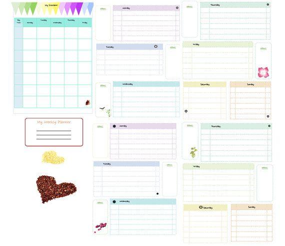 Printable Weekly Planner. Printable Perpetual Planner