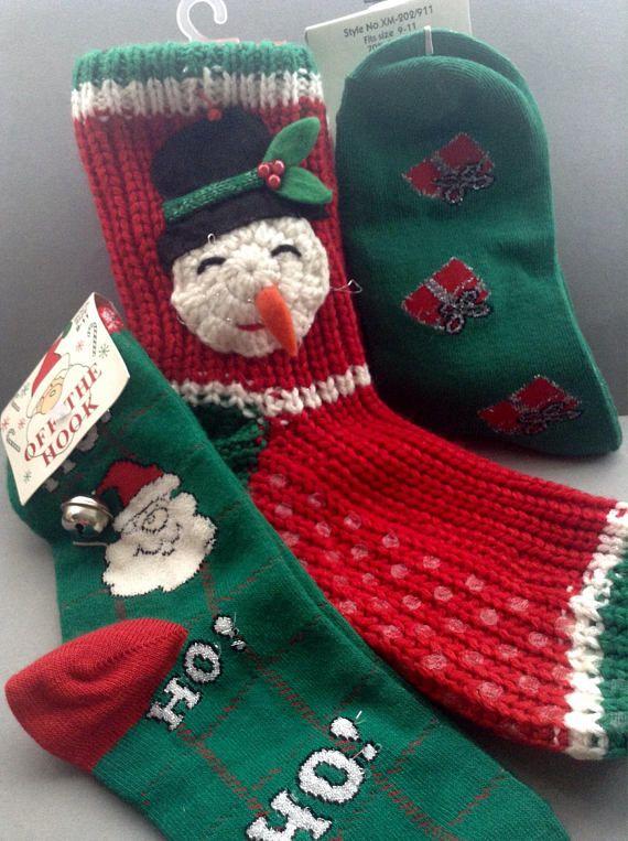 Christmas Socks Slipper Socks NWT set of 3 original snowman