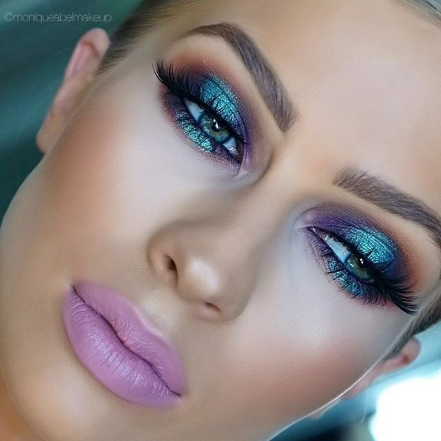 """Iridescent metallic makeup look. Reminds me of the """" futuristic """" early 2000's :]. Matte lavender purple / pink lipstick"""