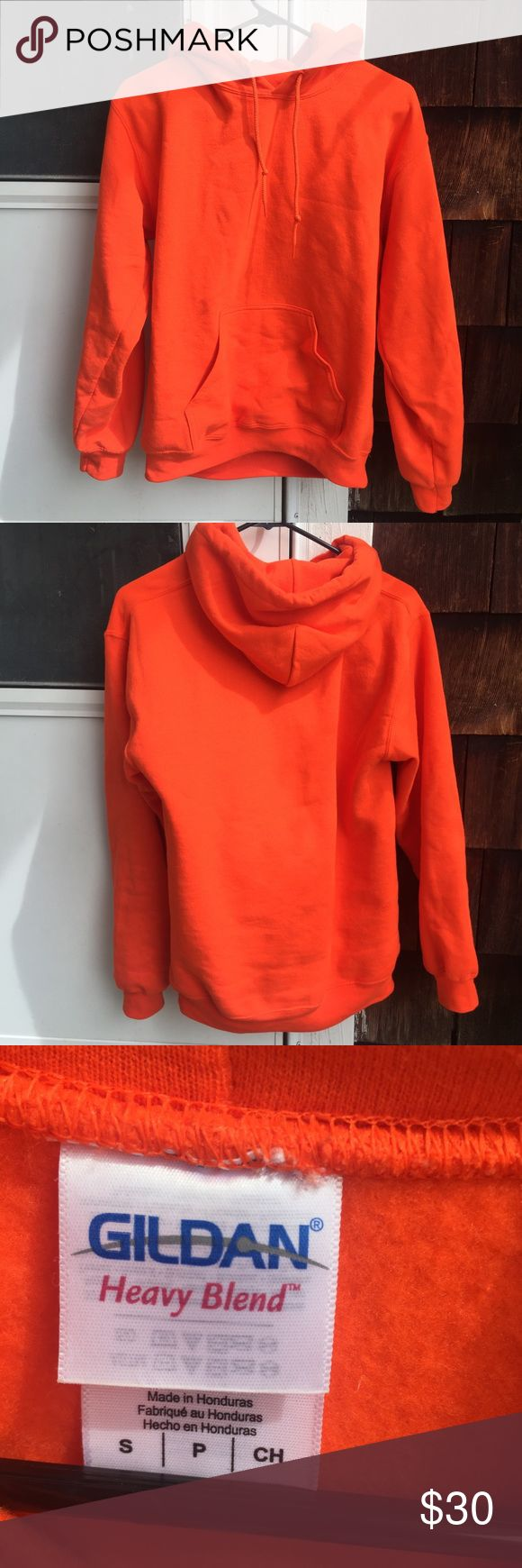 Gildan Heavy Blend Orange Hoodie 🍊 Not Brandy! |  Gildan Heavy Blend | Orange Hoodie | Size : Small ! | Super Cute & Comfy ! | No Flaws  ||✨TAGS: Brandy Melville, BM , American Apparel , AA , Urban Outfitters, UO , Topshop , LF , Unif , Tarte , Too Faced , Adidas , Nike ‼️MAKE OFFERS THROUGH BUTTON ONLY‼️❌NO TRADES PLEASE❌ Brandy Melville Tops Sweatshirts & Hoodies