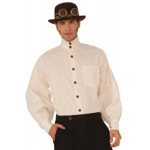 Victorian Steampunk Mens Beige Shirt - New at GothicPlus.com - your source for gothic clothing jewelry shoes boots and home decor. #gothic #fashion #steampunk