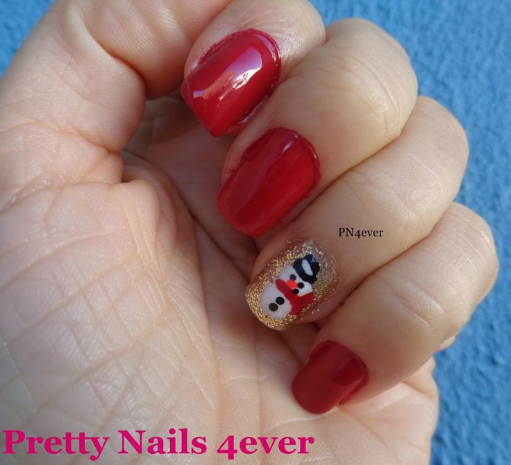 Pretty Nails 4ever - Unhas Vermelhas e Douradas Decoradas com Bonecos de Neve