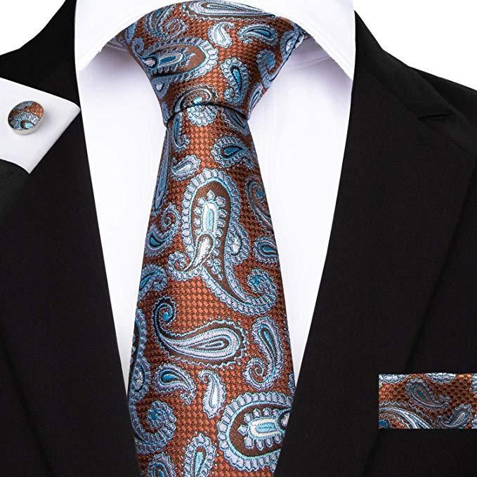 USA Black Red Paisley Tie Set Silk Mens Wedding Necktie Pocket Square Cufflinks