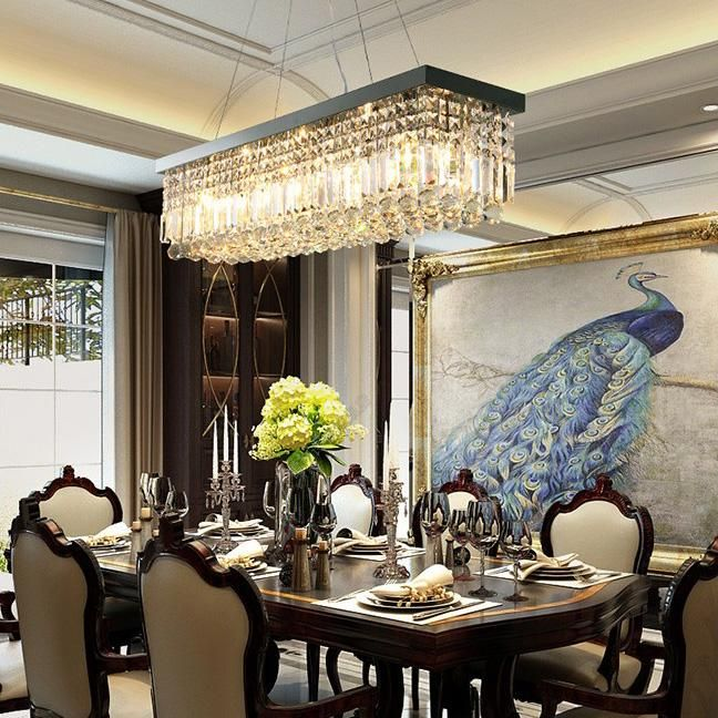 Rectangular Crystal Chandelier Dining Room Crystal Chandeliers