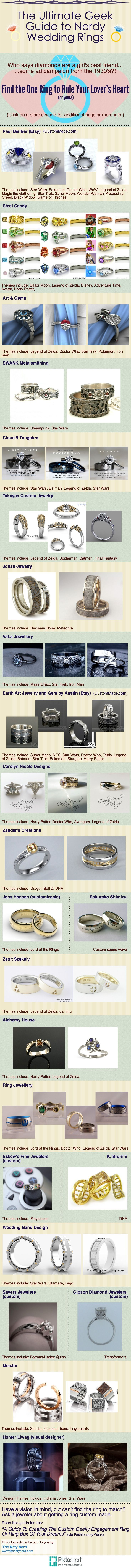 Geek Wedding Ring Guide Nerdy engagement rings you can actually buy; Star Wars, Doctor Who, Lord of the Rings, science, Legend of Zelda, Pokemon, WoW, video gaming, Harry Potter, Dragon Ball, Star Trek, steampunk, Batman, Spiderman, Iron man, dinosaur bone, Mario, Stargate, and more!