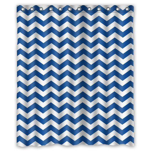 Custom Navy Blue Striped Chevron Shower Curtain 60 X 72 Bathroom Decor Fabric Summer Shower