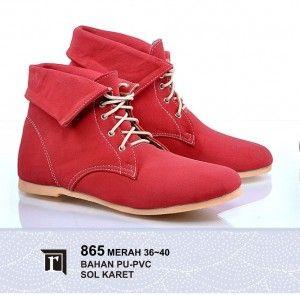 Jual Sepatu Boots Wanita Lucu Warna Merah Murah Online