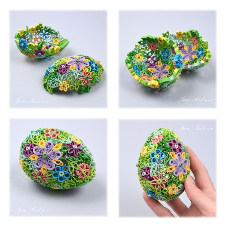 Quilled Easter Eggs. I figure these are done around a water balloon for the shape. Or in a mould.  Fler BLOG   Jana Maiksnar / Veselé Velikonoce