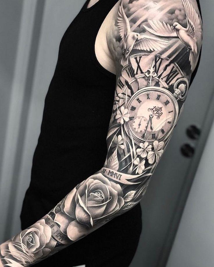 Clock Tattoo Sleeve, Tiger Tattoo Sleeve, Half Sleeve Tattoos For Guys, Arm Sleeve Tattoos, Tattoo Sleeve Designs, Tattoo Brazo Mujer, Full Sleeves Design, Astronaut Tattoo, Rose Tattoos For Men