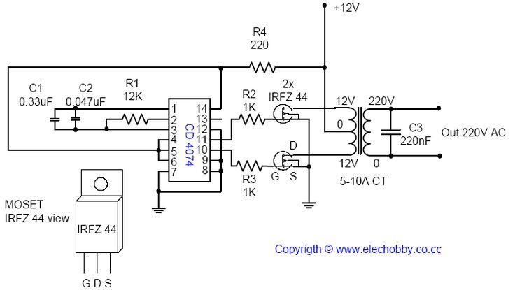 Este circuito é muito simples, usa menos de 12 componente para construir um Inversor DC para AC.