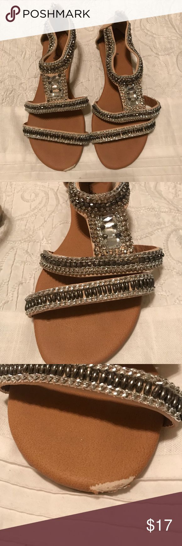 Red dress boutique beaded sandals Red dress is an online boutique in Georgia!  -bought two summers ago -bead work is still in perfect condition  -only worn a few times -one scuff as shown in picture Red Dress Boutique Shoes Sandals