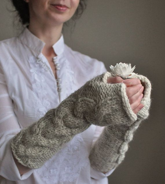 Cable chunky hand knit extra long fingerless gloves armwarmers wristwarmers - Freezebaby Mittens in cream