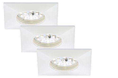 Briloner Leuchten 7205-036 LED Einbauleuchte, Einbaustrahler, LED Strahler, Spots, Deckenstrahler, Deckenspot, Lampen Wohnzimmer, led einbaustrahler 230v, Deckeneinbauleuchten,  5 Watt, 400 Lumen, Badezimmer / Bad geeignet IP44, energiesparend, 3er-Set, eckig, wei�