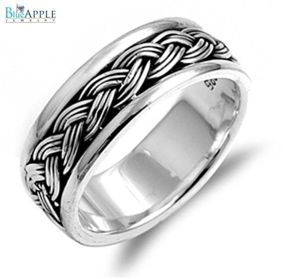 Bling Jewelry Men Sterling Silver Braided Band Ring Solid 925 Sterling Silver Plain Simple 8mm Band Men's Ring Size 4-16