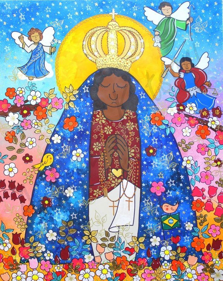 Artista : Andreza Katsani Nome da obra: Rainha dos Anjos Técnica : Tinta acrílica sobre tela Tamanho 80x100 Ano : 2017  Essa tela eu pintei já com a bandeirinha do Brasil, indicando que agora sim Nossa Senhora Aparecida foi proclamada a padroeira de nosso país. No céu desenhei os anjos Gabriel, Rafael e Miguel.  GABRIEL - O ANJO MENSAGEIRO RAFAEL - O ANJO DA CURA MIGUEL - O PRÍNCIPE DA LUZ