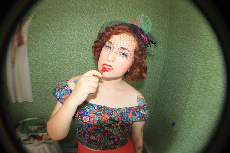 put some lipstick on.  #lipstick #redlipstick #vintage #redhead #fisheye #retro #40s