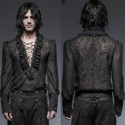 Men Black Long Sleeve Embroidered Victorian Gothic Wedding Dress Shirt SKU 11407133