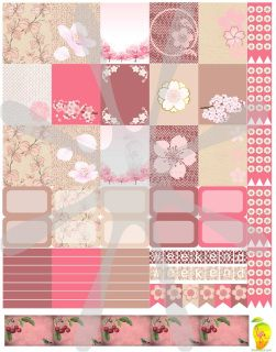 Lovely Pink Cherry Blossoms to add to your planner; these stickers that are made to print out onto one 8 1/2X11 sticker paper, cut to size for your personal Mambi Happy Planner™/Erin Condren™ & Plum™ sized and type planners. In printable HQ PDF format (image poor quality for visual only). Water marks removed during print. Created by Staff Artist Angel Koch. See terms and Use. Add to your cart now. Nicely matches the Cherry Blossom papers and Cherry Cupcake packages here: More Cher...