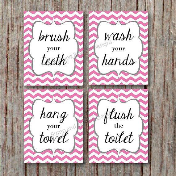 BATHROOM WALL ART Kids Bathroom Wall Art Wash your hands Brush your teeth Hang your towel Instant Download Pink Chevron Bathroom Decor 013
