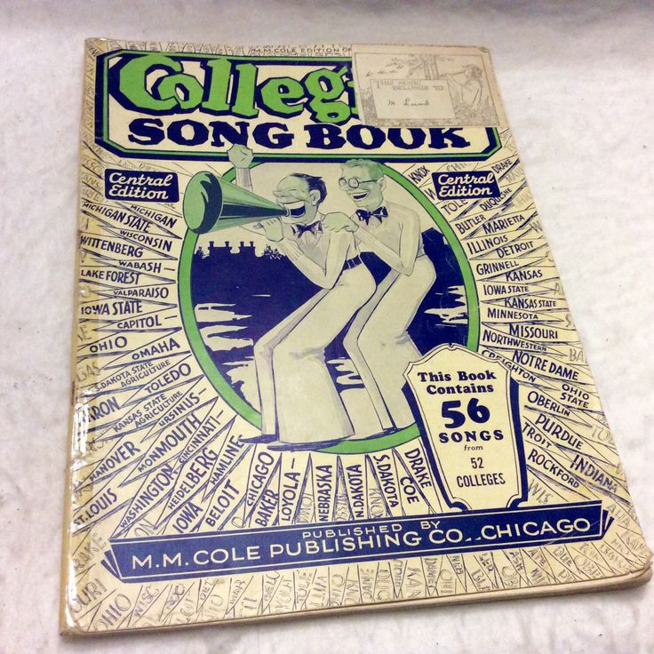 A personal favorite from my Etsy shop https://www.etsy.com/listing/294716619/college-song-book-sheet-music-1929-56