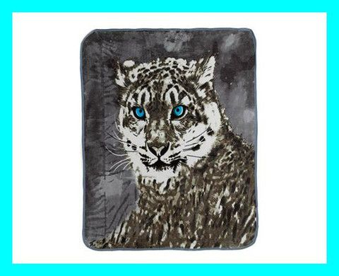Snow Leopard Print Fleece Throw