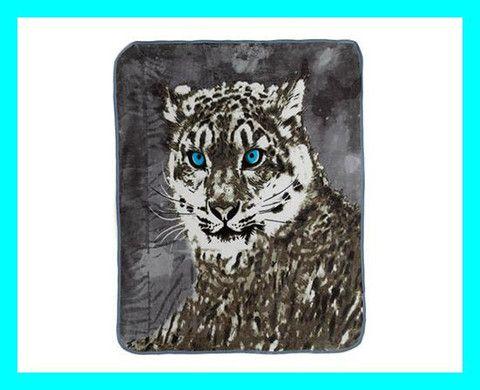 Snow Leopard Print Fleece Throw