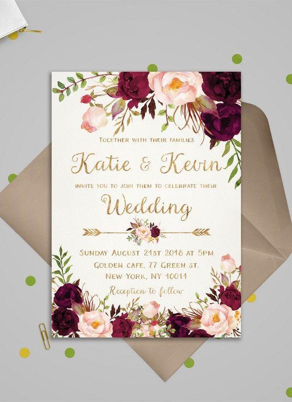 burgundy and blush floral wedding invitations for 2018 #weddinginvitations #wedding #weddingcards #weddingideas