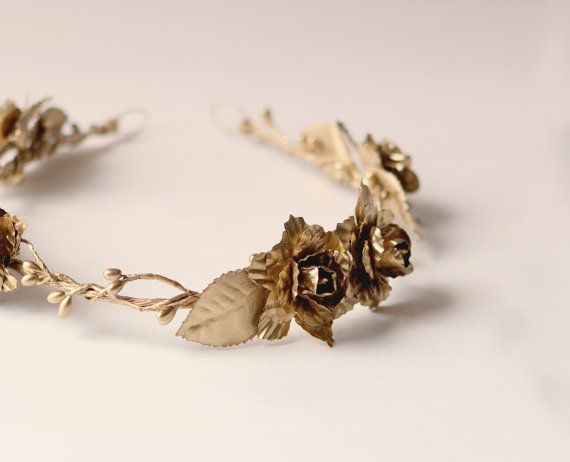 Gold flower crown - House Tyrell, Game of Thrones, by WHICHGOOSE on Etsy