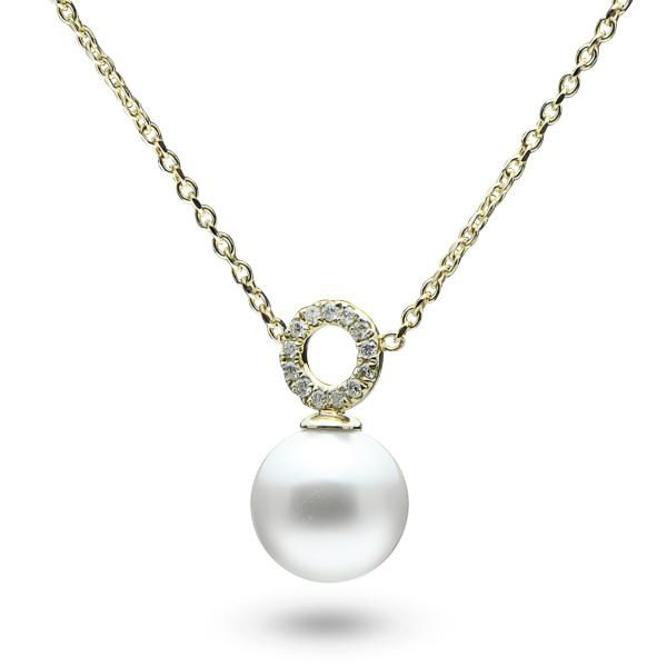 75 best pearl necklaces pendants images on pinterest beaded single pearl pendant necklace w diamonds 14k yellow gold 006ct aloadofball Choice Image
