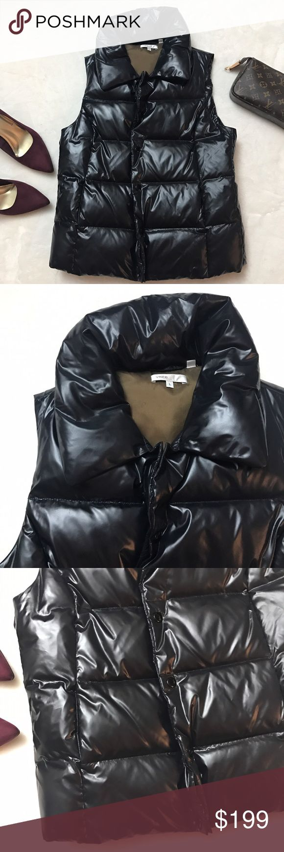 VINCE Black Down Feather Quilted Puffer Vest VINCE Black Down Feather Quilted Puffer Vest size large. Like new!! Down and Feather filled Puffer Vest in size large. Retails for $395. Snap Button closure. Vince Jackets & Coats Vests