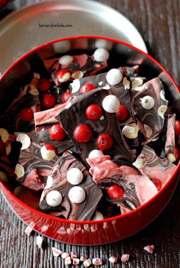 Peppermint M & M Chocolate Bark