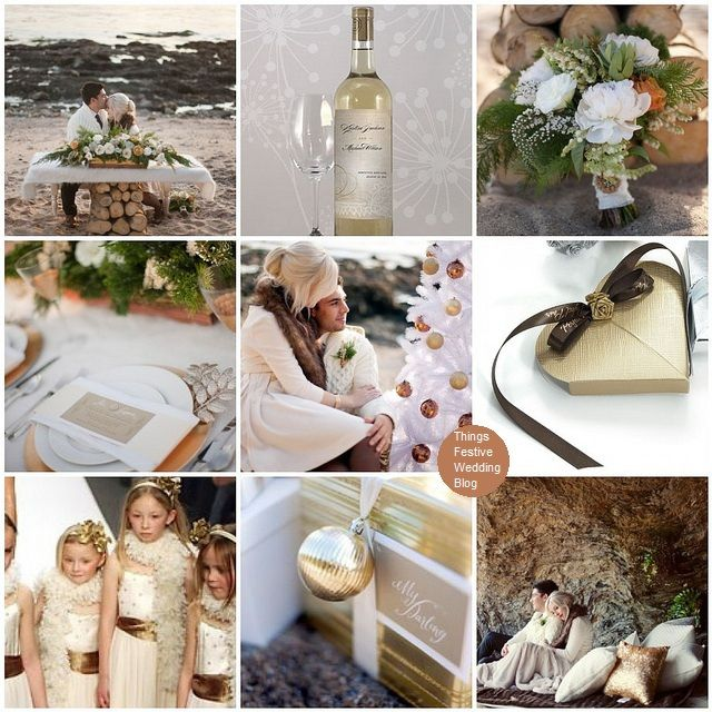 winter beach wedding theme featuring Pantone's Honey Gold. Click image for details.
