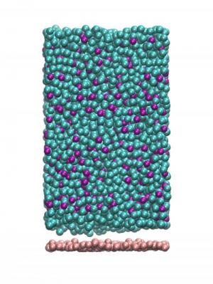 This image shows the molecular configuration of a simulated ultrastable glass. The purple and greenish-blue spheres represent two different types of atoms (phosphorus and nickel, respectively) that were introduced onto the substrate (the pink spheres) a few at a time in a molecular dynamics simulation, mimicking the vapor deposition process as it occurs in laboratory experiments. Credit: Ivan Lyubimov/University of Chicago