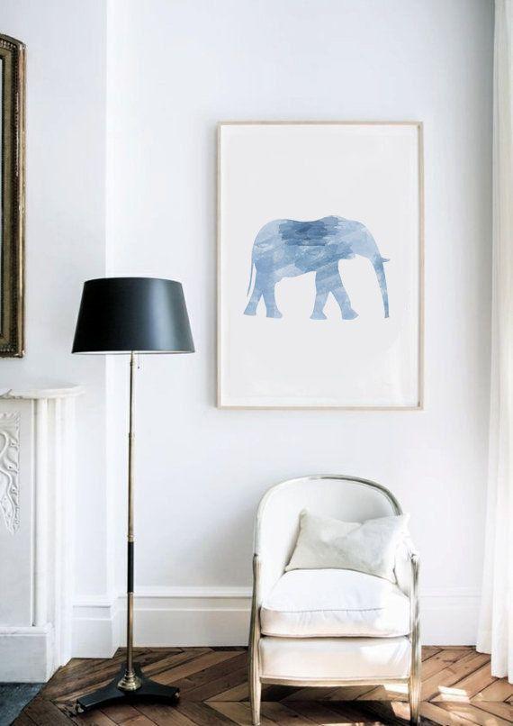 Blue Elephant Poster Watercolor  Digital Print di AYAKAstudio