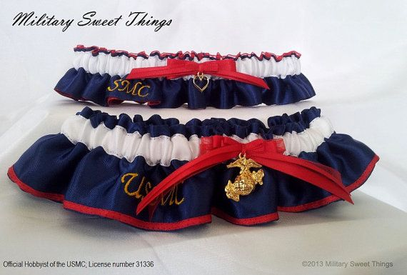 USMC Dress Blues Wedding Garter Set by MilitarySweetThings - Marine Corps Wedding, Marine Wife