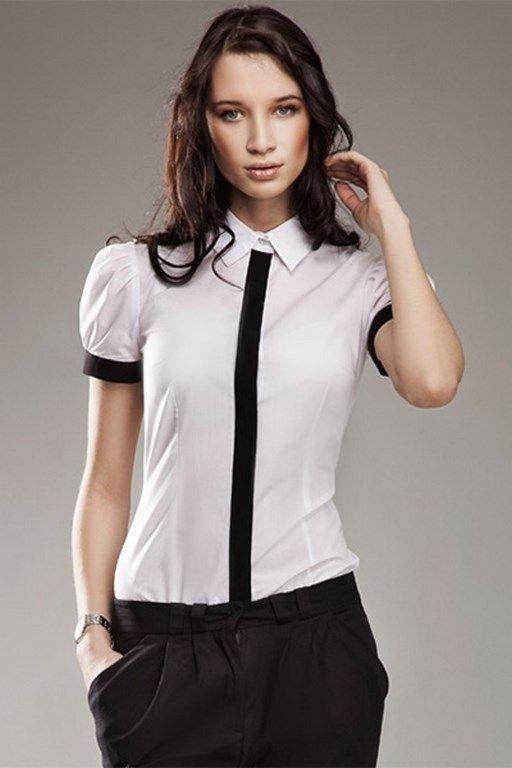 Wizytowa biała koszula damska z czarnymi elementami