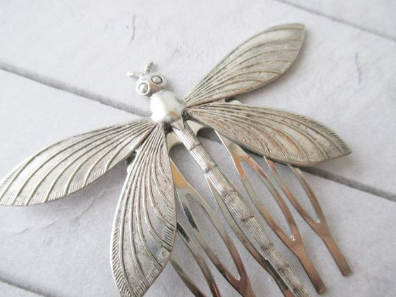 Silver dragonfly hair comb Silver insect hair comb by Cuchifritina