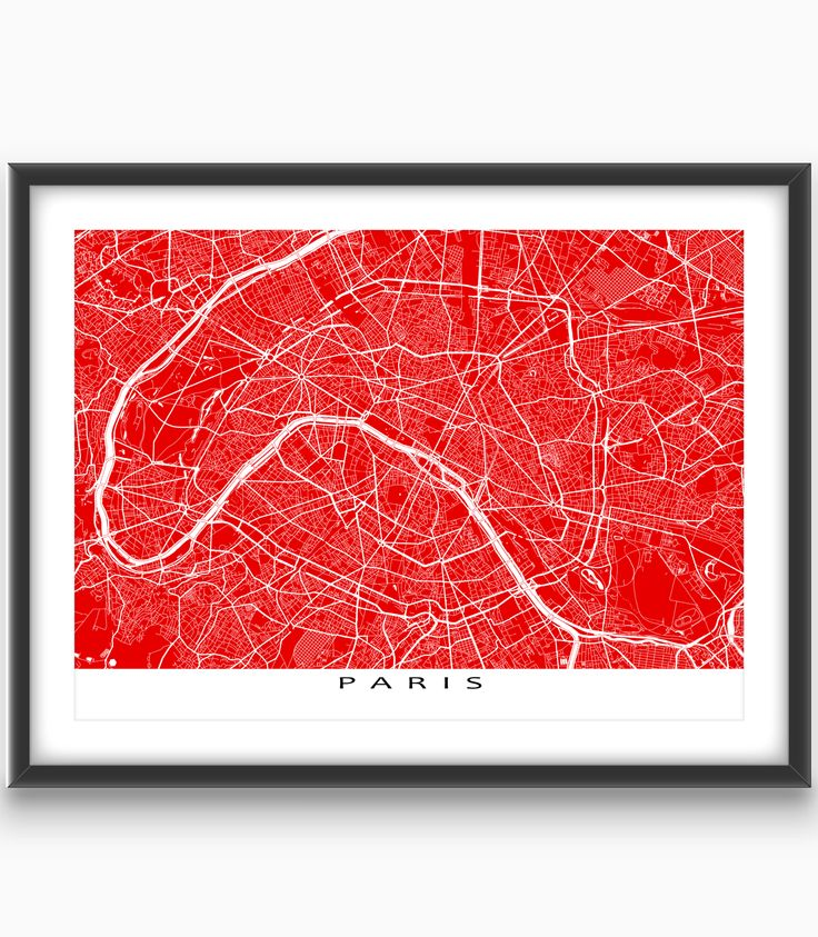 Paris #France  Modern, graphic and eye-catching. #Paris #map art print with a white street network design. Perfect for your #travel wall or to add to your existing home decor.
