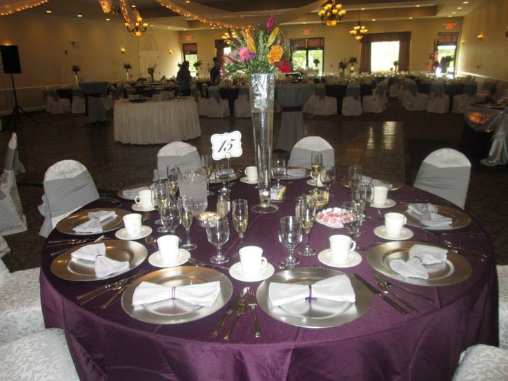 eggplant table cloth with grey accented wedding table display wedding near hazleton area at. Black Bedroom Furniture Sets. Home Design Ideas
