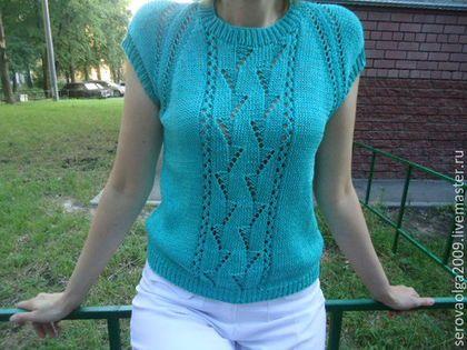 Кофты и свитера ручной работы. Ярмарка Мастеров - ручная работа. Купить Летний пуловер без рукавов. Handmade. Зеленый