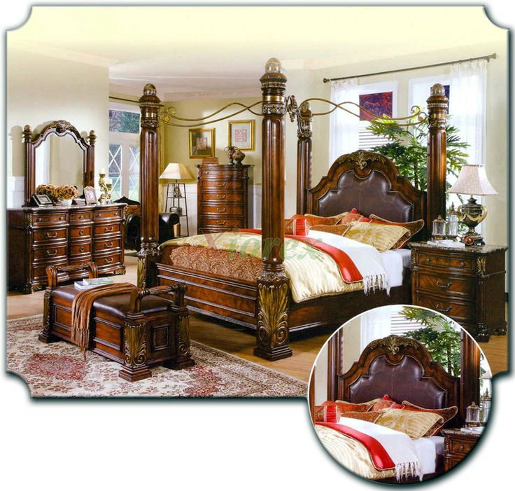 Canopy bed sets bedroom furniture sets w poster canopy for Tropical canopy bed