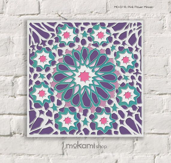 MOROCCAN Canvas Print, Purple, FLOWER, MOSAIC, Moroccan Wall Decor, Moroccan  Painting